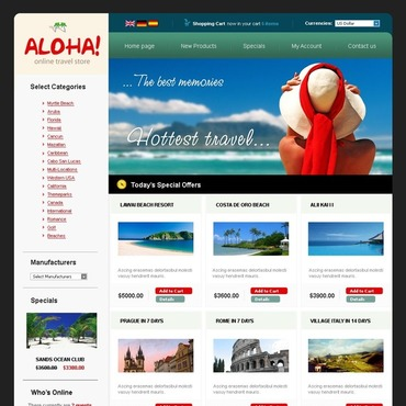 Travel Store OsCommerce Template