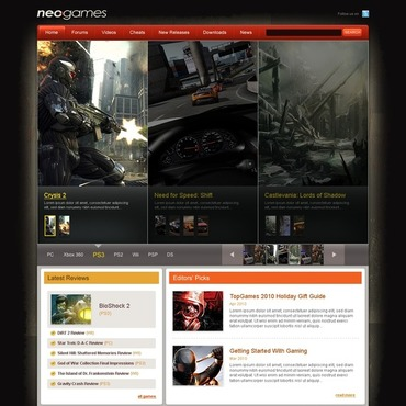 Games Website Template