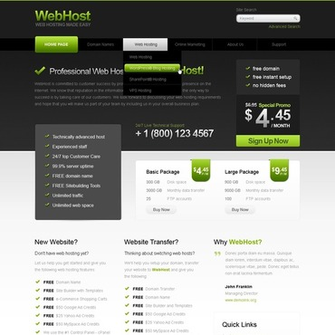 Hosting Flash CMS Template