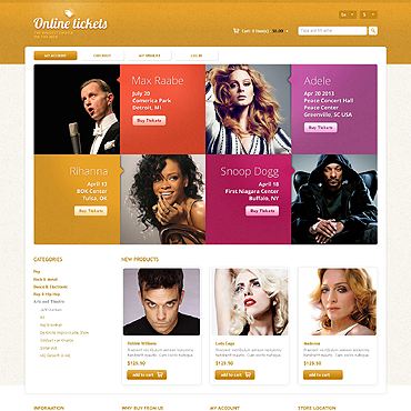 Tickets Website Responsive Magento Theme