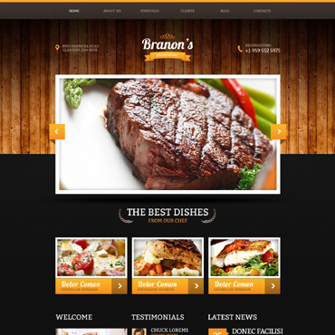 Steakhouse Responsive Website Template #47122