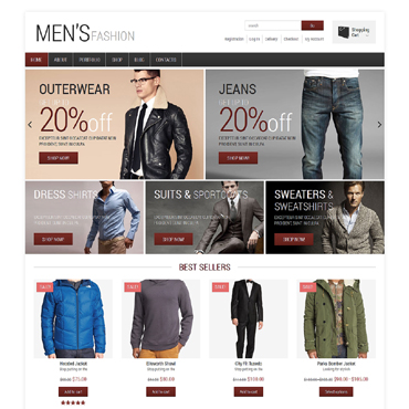 Fashion Shop for Handsome Men Jigoshop Theme #48694
