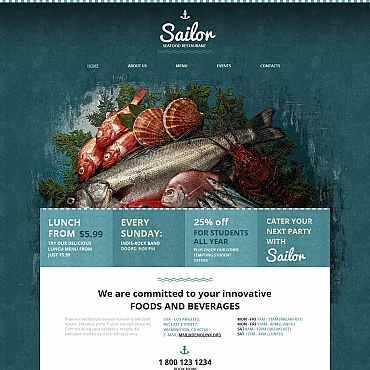 Seafood Restaurant Moto CMS HTML Template