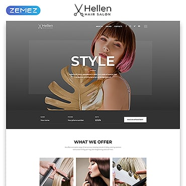 Hair Salon Responsive Website Template #52290