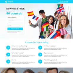 Language School Responsive Landing Page Template